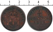 Изображение Монеты Пруссия 4 пфеннига 1867 Медь XF