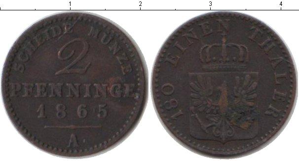 Картинка Монеты Пруссия 2 пфеннига Медь 1865