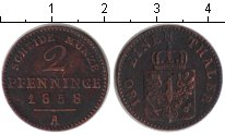 Изображение Монеты Пруссия 2 пфеннига 1858 Медь XF