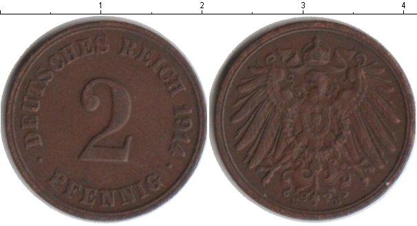 Картинка Монеты Германия 2 пфеннига Медь 1914