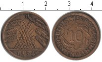 Изображение Монеты Веймарская республика 10 пфеннигов 1924 Медь XF D