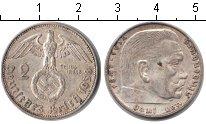 Изображение Монеты Третий Рейх 2 марки 1938 Серебро XF E. Пауль фон Гинденб