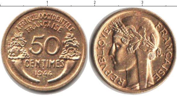 Картинка Монеты Французская Западная Африка 50 сантим  1944