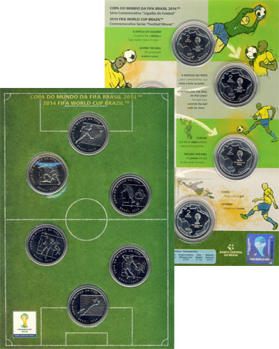 Изображение Подарочные наборы Бразилия Чемпионат мира по футболу 2014 в Бразилии 2014 Медно-никель AUNC Подарочный набор пос