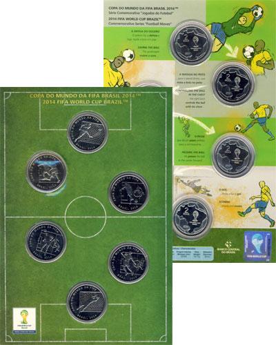 Изображение Подарочные монеты Бразилия Чемпионат мира по футболу 2014 в Бразилии 2014 Медно-никель AUNC Подарочный набор пос