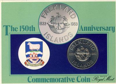 Изображение Подарочные монеты Фолклендские острова 150-летие независимости 1983 Медно-никель UNC `Подарочная монета `