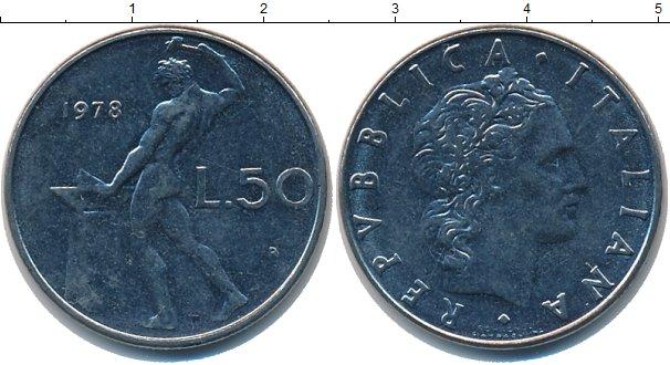 Картинка Дешевые монеты Италия 50 лир  1978