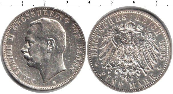 Картинка Монеты Баден 5 марок Серебро 1908