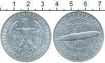 Изображение Монеты Веймарская республика 5 марок 1929 Серебро UNC- Цеппелин