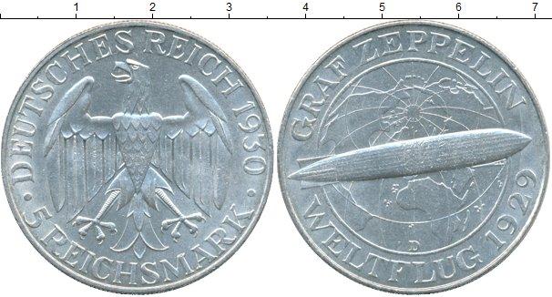 Картинка Монеты Веймарская республика 5 марок Серебро 1929