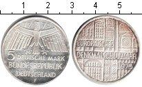 Изображение Монеты ФРГ 5 марок 1975 Серебро XF Европейская архитект