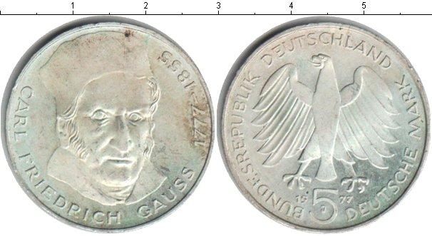 Картинка Монеты ФРГ 5 марок Серебро 1977