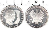 Изображение Монеты ФРГ 10 марок 1994 Серебро Proof- Иоганн Готтфрид Герд
