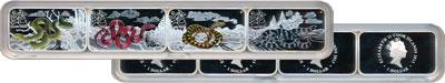 Изображение Подарочные монеты Острова Кука Год Змеи 2013 Серебро Proof Подарочный набор пос