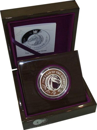 Изображение Подарочные монеты Фиджи Год Лошади 2014 Серебро Proof Подарочная монета по