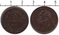 Изображение Монеты Италия 5 сентесим 1861 Медь XF Виктор Эмануэль II