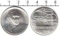 Изображение Монеты Италия 1000 лир 1999 Серебро UNC Витторио Альфьери