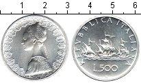 Изображение Монеты Италия 500 лир 2001 Серебро UNC- Корабли Колумба.