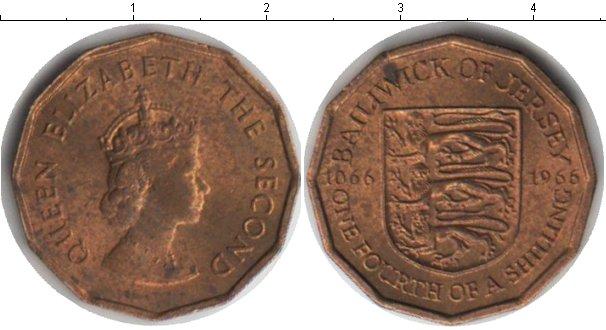 Картинка Монеты Остров Джерси 1/4 шиллинга Медь 1966