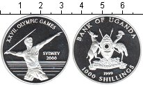 Изображение Монеты Уганда 1000 шиллингов 1999 Серебро Proof XXVII летние Олимпий