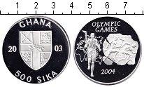 Изображение Монеты Гана 500 сика 2003 Серебро Proof