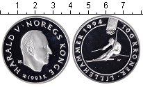 Изображение Монеты Норвегия 100 крон 1993 Серебро Proof XVII зимние Олимпийс
