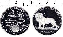 Изображение Монеты Конго 10 франков 2006 Серебро Proof Чемпионат мира по фу