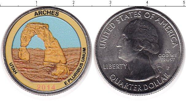 Картинка Цветные монеты США 1/4 доллара Медно-никель 2014