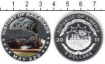 Изображение Монеты Либерия 5 долларов 2011 Серебро Proof История Железной дор