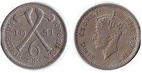 Изображение Монеты Родезия 6 пенсов 1951 Медно-никель XF