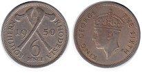 Изображение Монеты Родезия 6 пенсов 1950 Медно-никель XF