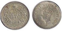 Изображение Монеты Индия 1/4 рупии 1945 Серебро XF