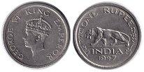 Изображение Монеты Индия 1/4 рупии 1947 Медно-никель XF Георг VI.