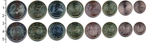 Изображение Наборы монет Испания Испания 2015 0  UNC В наборе 8 монет ном