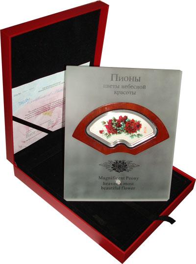 Изображение Подарочные наборы Острова Кука Пионы-цветы небесной красоты 2008 Серебро UNC Подарочный набор пос