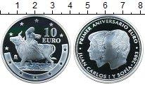 Изображение Монеты Испания 10 евро 2003 Серебро Proof- Хуан Карлос I и Софи