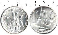Изображение Монеты Сан-Марино 1000 лир 1991 Серебро UNC-