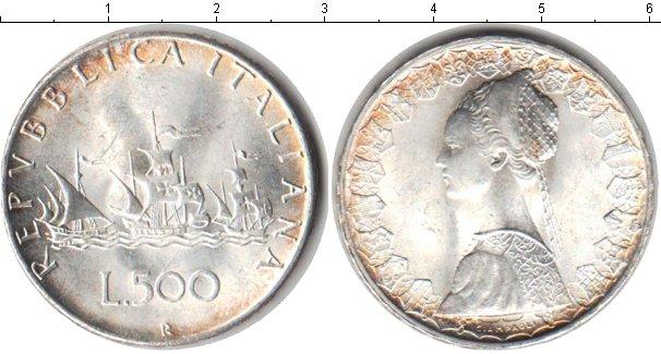 Картинка Монеты Италия 500 лир Серебро 1966