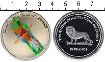Изображение Монеты Конго 10 франков 2004 Серебро Proof Защита дикой природы