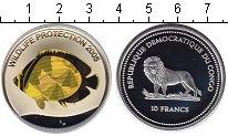 Изображение Монеты Конго 10 франков 2005 Серебро Proof Защита дикой природы