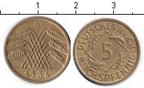 Изображение Монеты Веймарская республика 5 пфеннигов 1936  XF А