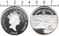 Изображение Монеты Соломоновы острова 25 долларов 2003 Серебро Proof- Елизавета II. Авиаци