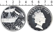 Изображение Монеты Токелау 5 тала 1993 Серебро Proof- парусное судно