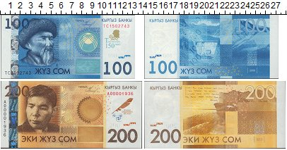 Изображение Боны Киргизия 300 сом 0  UNC- Набор из двух банкно