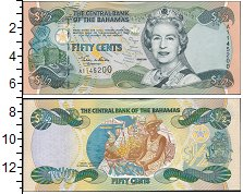 Изображение Банкноты Багамские острова 50 центов 0  UNC- Елизавета II. Женщин