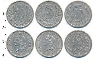 Изображение Наборы монет Колумбия Колумбия 1886 1886 Медно-никель VF Набор состоит из 3х