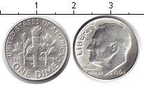 Изображение Мелочь США 1 дайм 1964 Серебро XF