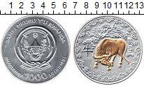 Изображение Монеты Руанда 1000 франков 2009 Серебро UNC- Год быка