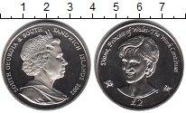 Изображение Мелочь Сендвичевы острова 2 фунта 2002  UNC- Елизавета II. Леди Д