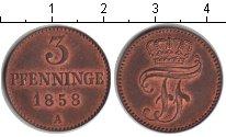 Изображение Монеты Мекленбург-Шверин 3 пфеннига 1858 Медь XF